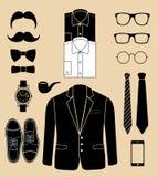 Sistema de elementos de la moda del hombre. ejemplo del vector Foto de archivo libre de regalías