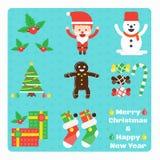 Sistema de elementos de la Navidad ilustración del vector