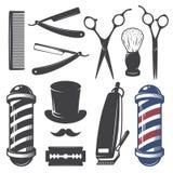 Sistema de elementos de la peluquería de caballeros del vintage stock de ilustración
