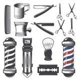 Sistema de elementos de la peluquería de caballeros del vintage Foto de archivo