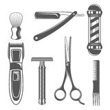Sistema de elementos de la peluquería de caballeros del vintage en estilo monocromático Imagen de archivo libre de regalías