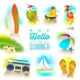 Sistema de elementos de las vacaciones de verano Imagen de archivo