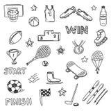 Sistema de elementos de los garabatos de los deportes Iconos del drenaje de la mano Imágenes de archivo libres de regalías