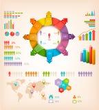 Sistema de elementos de los gráficos de la información. Imagen de archivo
