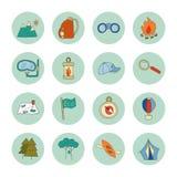 Sistema de elementos de los iconos del turismo ecológico stock de ilustración