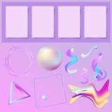 Sistema de elementos de los memphys del extracto 3D y de cuatro hojas de papel Fotos de archivo libres de regalías