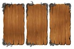 Sistema de elementos de madera del interfaz stock de ilustración