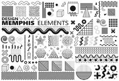 Sistema de elementos de Memphis Imagen de archivo libre de regalías