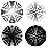 Sistema de 4 elementos del círculo concéntrico Ondulación, irradiando círculos ilustración del vector