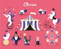 Sistema de elementos del circo Ejemplo del vector en un tema del circo Foto de archivo