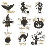 Sistema de elementos del concepto y del diseño del partido de Halloween Concepto para la impresión, camisa, sello, insignia Fotografía de archivo libre de regalías