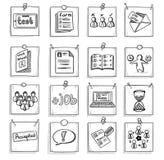 Sistema de elementos del desarrollo de carrera del negocio del garabato ilustración del vector