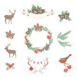 Sistema de elementos del diseño de la Navidad del vector Fotografía de archivo libre de regalías