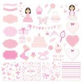 Sistema de elementos del diseño del cumpleaños y de la fiesta de bienvenida al bebé de la muchacha Foto de archivo libre de regalías