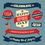 Sistema de elementos del diseño del Día de la Independencia Imagen de archivo libre de regalías