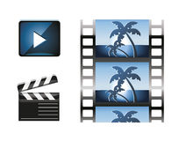 Sistema de elementos del diseño del icono de la película y de iconos del cine Imágenes de archivo libres de regalías