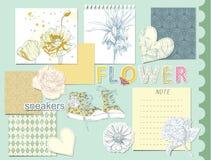 Sistema de elementos del diseño del libro de recuerdos Imagen de archivo libre de regalías