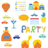 Sistema de elementos del diseño del partido Fotos de archivo libres de regalías
