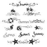Sistema de elementos del diseño del verano y de decoraciones de la página Foto de archivo libre de regalías