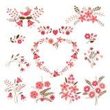 Sistema de elementos del diseño floral Imágenes de archivo libres de regalías