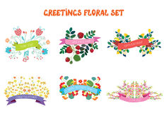 Sistema de elementos del diseño floral con las cintas para las tarjetas de felicitación Imágenes de archivo libres de regalías