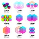 Sistema de elementos del diseño del logotipo del vector imagenes de archivo