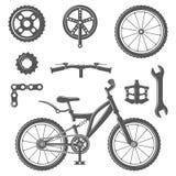 Sistema de elementos del equipo de la bici y de la bicicleta del vintage en estilo monocromático Foto de archivo libre de regalías