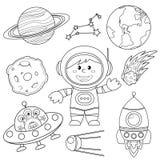 Sistema de elementos del espacio Astronauta, tierra, Saturno, luna, UFO, cohete, cometa, constelación, Sputnik y estrellas stock de ilustración
