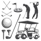 Sistema de elementos del golf del vintage Imagen de archivo