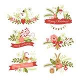 Sistema de elementos del gráfico de la Navidad Imagen de archivo libre de regalías