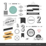 Sistema de elementos del infographics del estilo del inconformista para el diseño retro Con r Imagenes de archivo