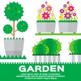 Sistema de elementos del jardín Imagenes de archivo