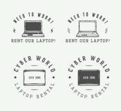 Sistema de elementos del logotipo, del emblema, de la insignia y del diseño del ordenador portátil del vintage Fotos de archivo