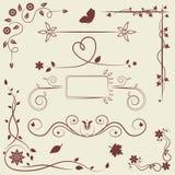 Sistema de elementos del ornamento floral Imagen de archivo libre de regalías