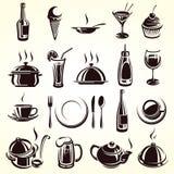 Sistema de elementos del restaurante Imagenes de archivo