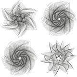 Sistema de elementos del spirograph Colección de formas abstractas para el diseño Ilustración del vector Foto de archivo