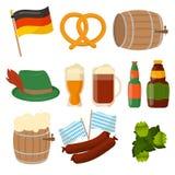 Sistema de elementos del vector de Oktoberfest del alemán Imagen de archivo libre de regalías