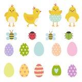 Sistema de elementos del vector de Pascua de los caracteres amarillos del pollo de la primavera, de la mariquita linda, del escar libre illustration