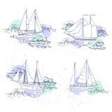 Sistema de elementos del viaje por mar Imagenes de archivo