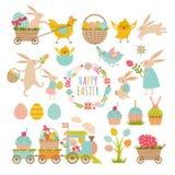 Sistema de elementos del vintage del tema de pascua Conejos, huevos, cintas y otras símbolos libre illustration