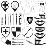 Sistema de 28 elementos dental blanco y negro de la silueta Ilustración del Vector