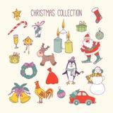 Sistema de elementos dibujado mano de la Navidad Días de fiesta de invierno stock de ilustración
