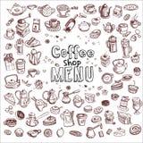 Sistema de elementos dibujado mano del café Foto de archivo