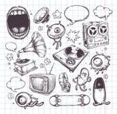 Sistema de elementos dibujados mano Imágenes de archivo libres de regalías
