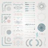 Sistema de elementos dibujados mano decorativa del diseño del vector libre illustration