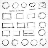 Sistema de elementos dibujados mano del diseño del garabato Imagen de archivo libre de regalías