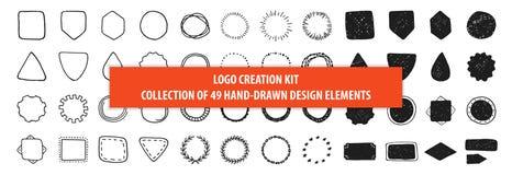 Sistema de 49 elementos dibujados mano del diseño del vector del vintage, muestras stock de ilustración