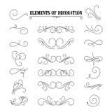 Sistema de elementos dibujados mano del flourish Ilustración del vector Elementos de la decoración Fotos de archivo