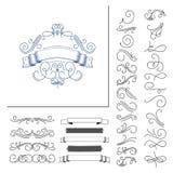 Sistema de elementos dibujados mano del flourish Ilustración del vector Elementos de la decoración Foto de archivo libre de regalías