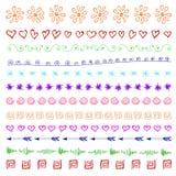 Sistema de elementos dibujados mano multicolora del diseño del vintage Imagen de archivo libre de regalías